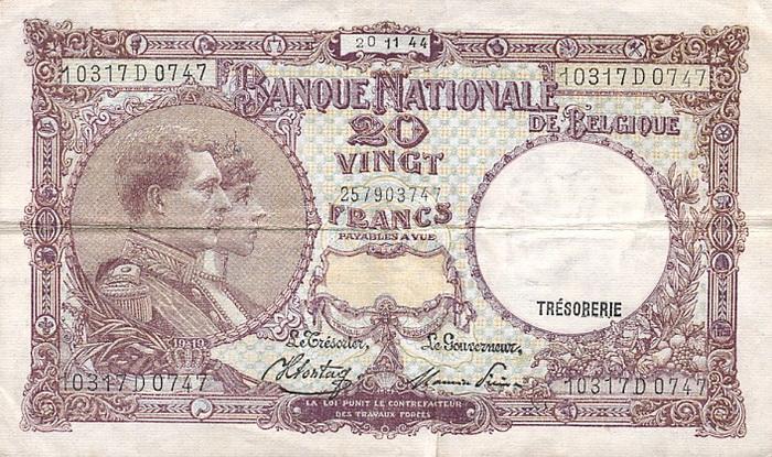Лицевая сторона банкноты бельгии