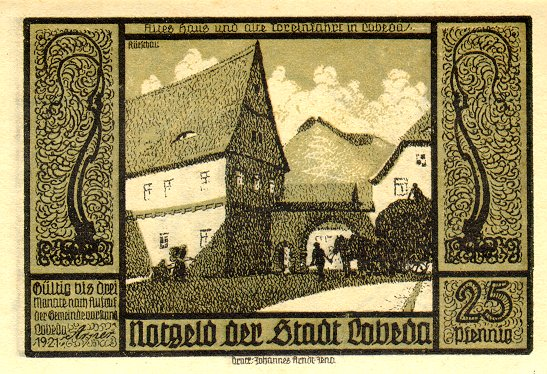 Обратная сторона банкноты Германии номиналом 25 Пфеннигов