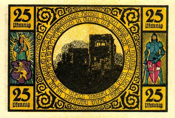 Лицевая сторона банкноты Германии номиналом 25 Пфеннигов