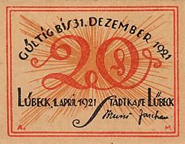 Лицевая сторона банкноты Германии номиналом 20 Пфеннигов