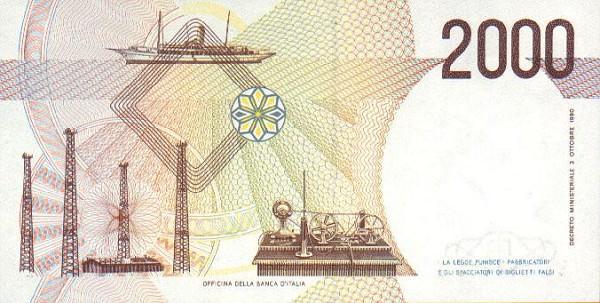 Обратная сторона банкноты италии