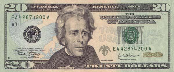 Банкноты сша номиналом 20 долларов