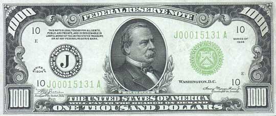 Банкноты США номиналом 1000 Долларов (Старые выпуски банкнот ...