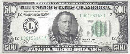 Банкноты США номиналом 500 Долларов (Старые выпуски банкнот ...