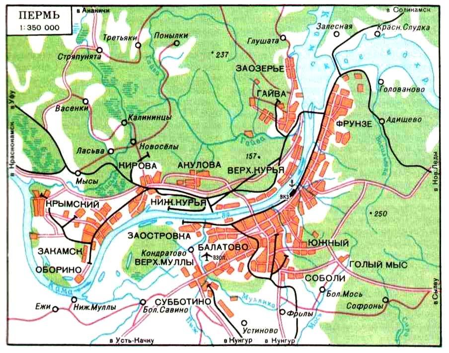 Подробная карта Перми