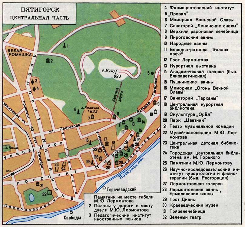 Карта Пятигорска