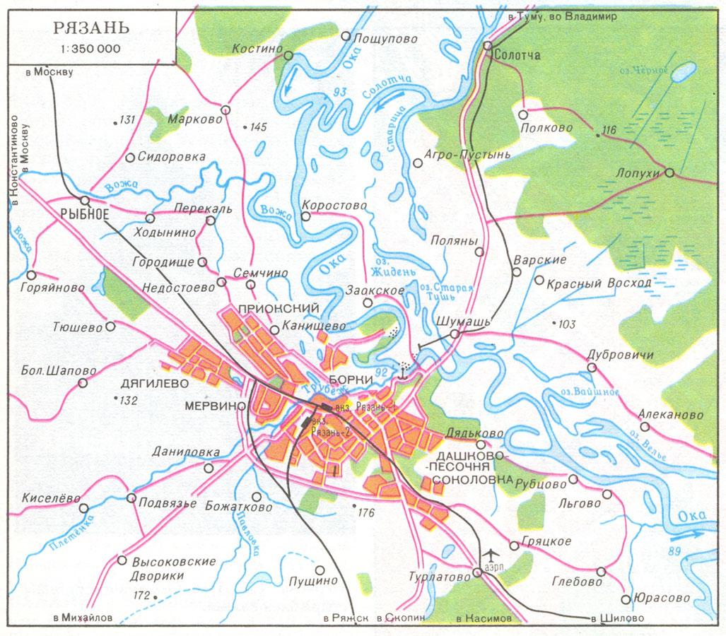 Подробная карта окрестностей рязани