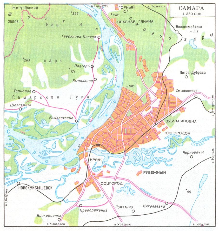 Подробная карта окрестностей самары