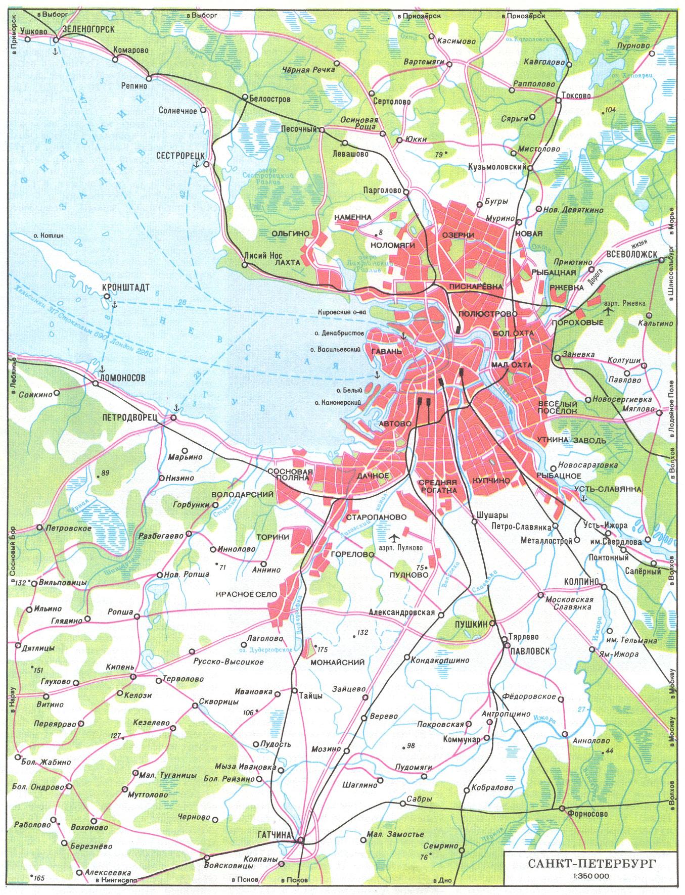 Подробная карта окрестностей санкт