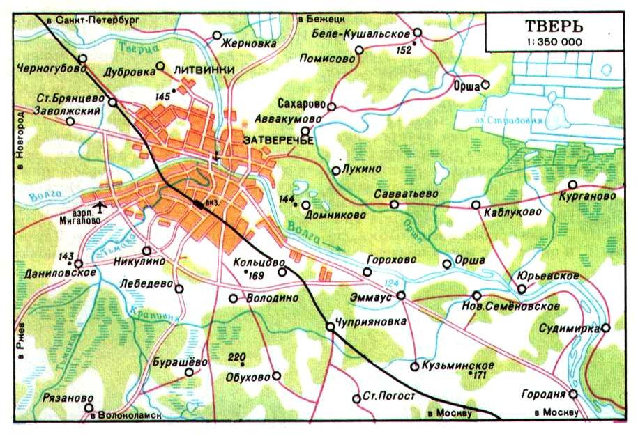 Подробная карта окрестностей твери