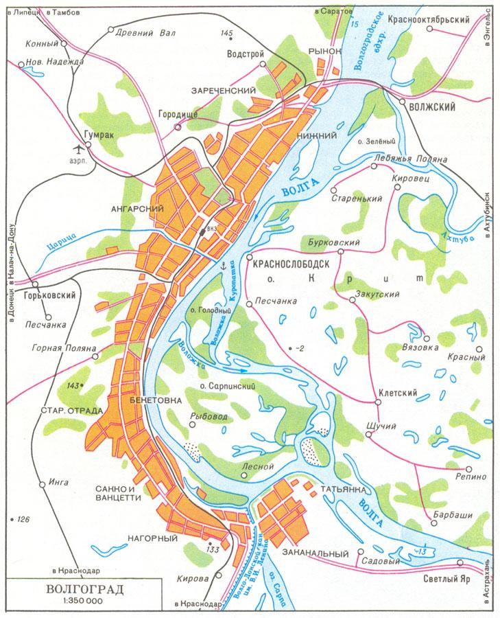 Карта окрестностей Волгограда