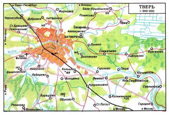 Карта окрестностей твери