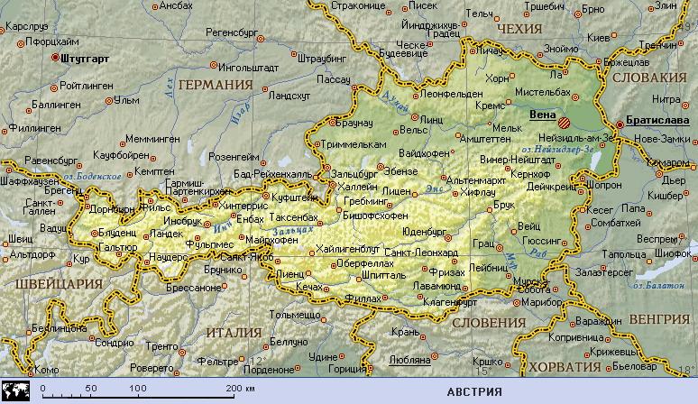 Podrobnaya Karta Avstrii Avstriya Na Karte Mira Planetolog Ru