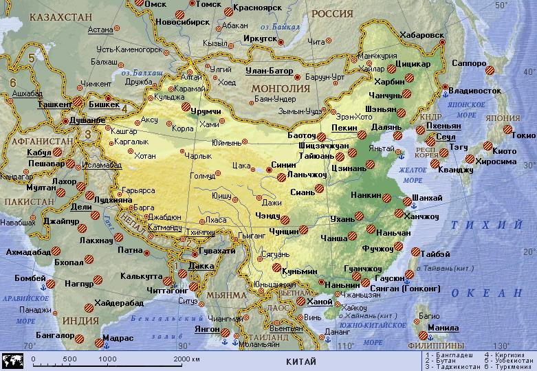 Подробная карта китая