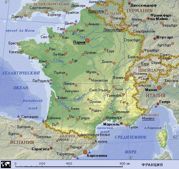 Подробная карта франции