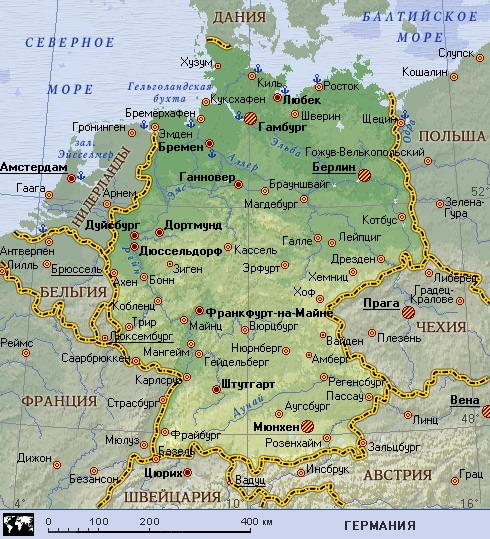 Подробная карта германии