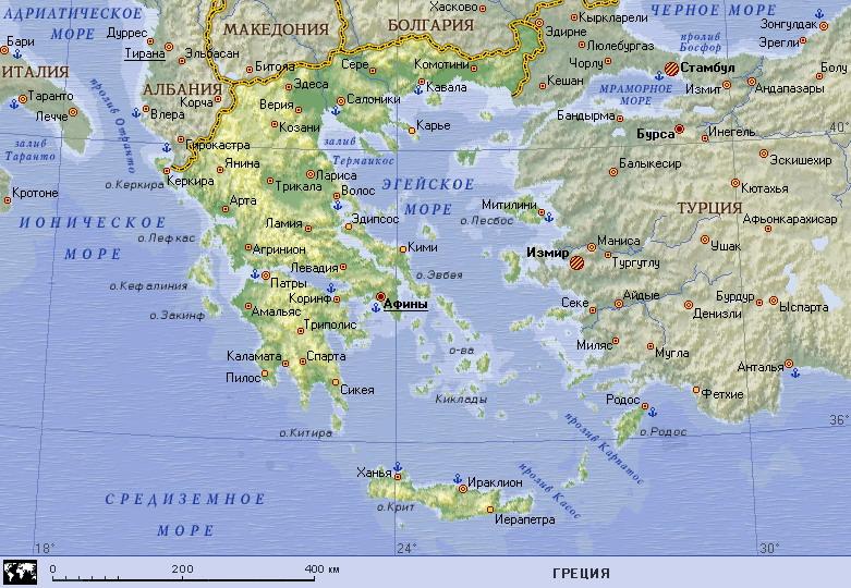 Подробная карта греции