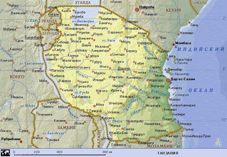 Где на карте мира находится танзания