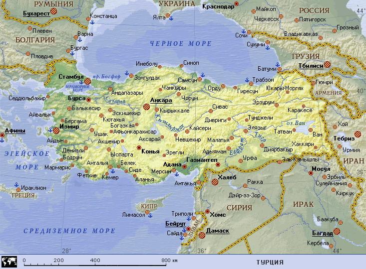 Podrobnaya Karta Turcii Turciya Na Karte Mira Planetolog Ru