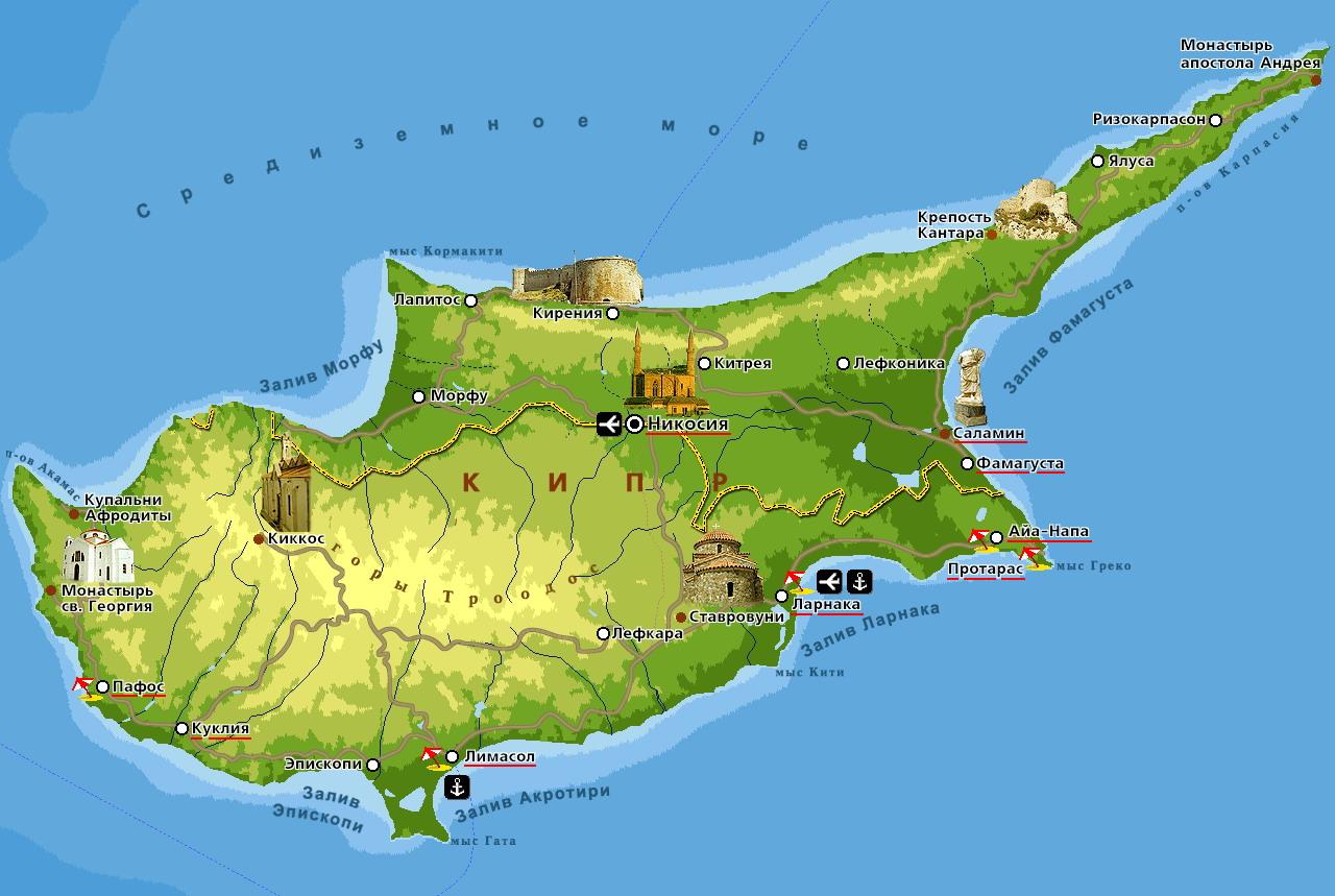 Подробная карта кипра