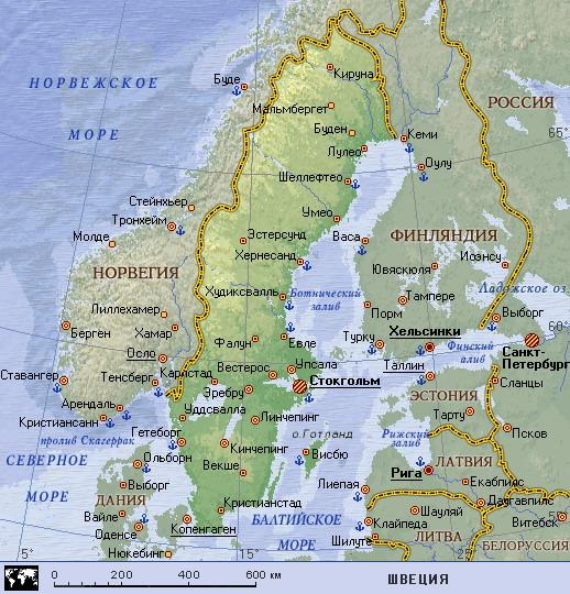 Karta Shvecii Shveciya Na Karte Mira Planetolog Ru