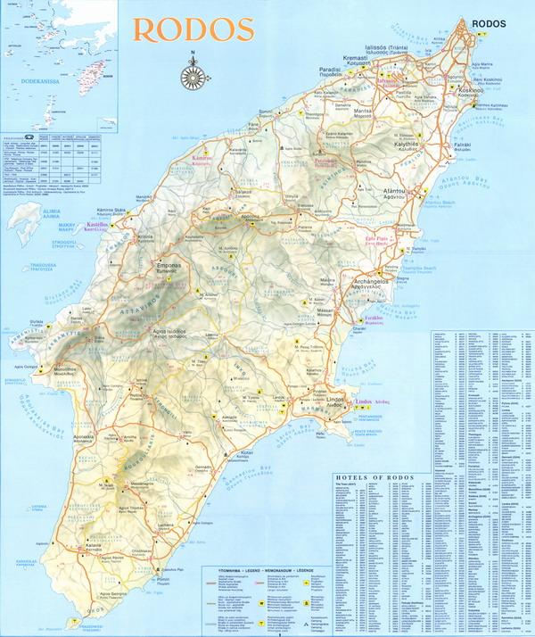 b Карта Родоса/b.  Греция на карте мира.