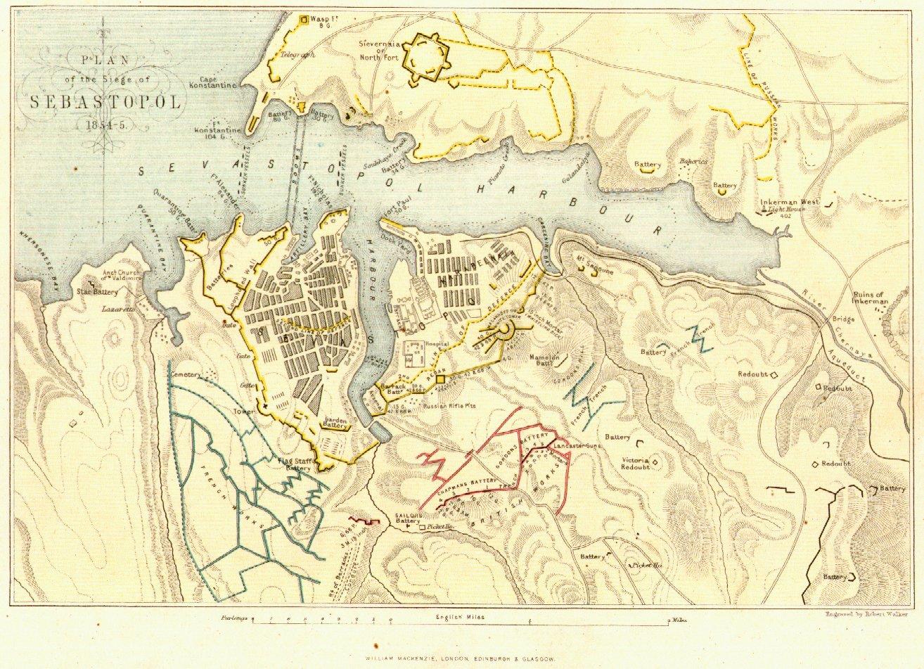 вернуться в раздел.  Карта плана Севастополя 1854 года.