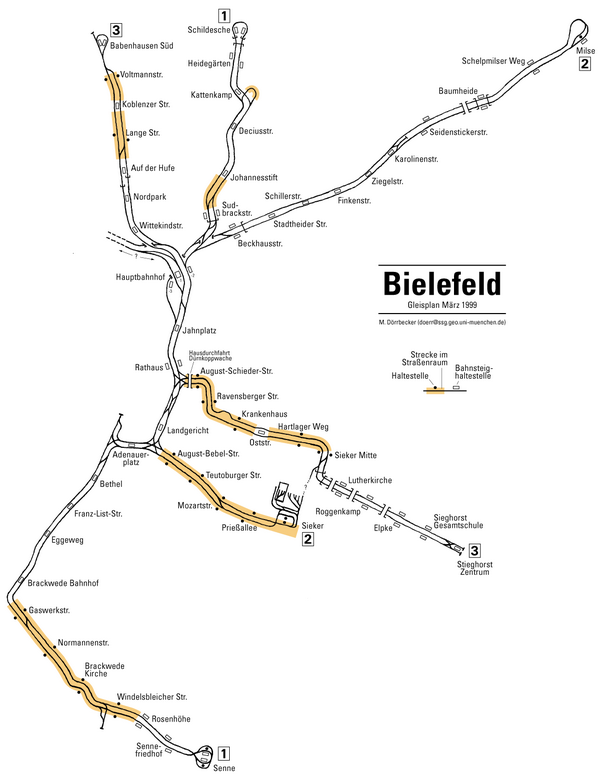 Схема метро Билефельд