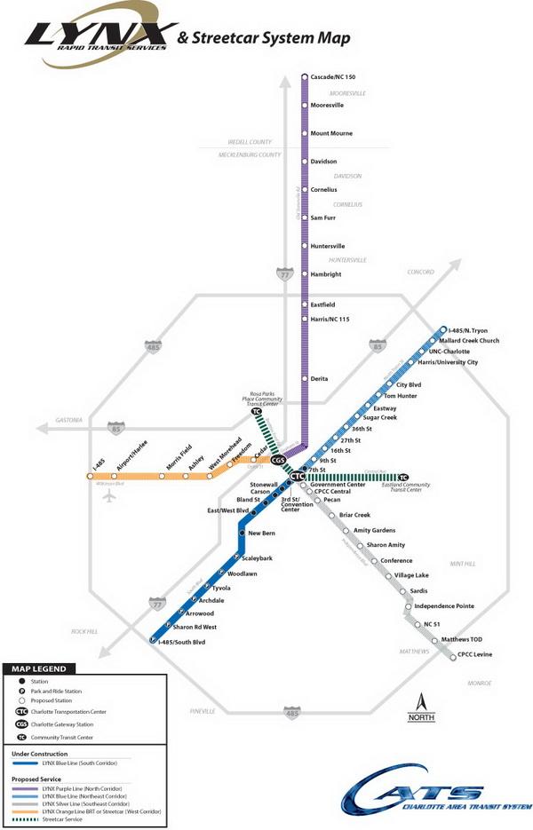 Схема метро Шарлотты