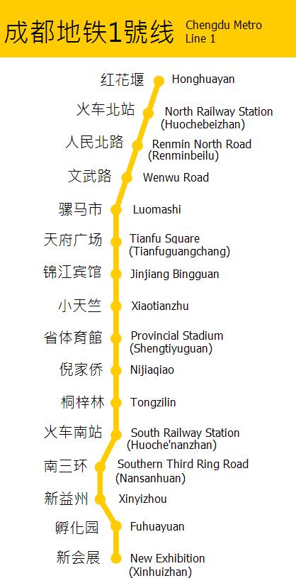 Схема метро Чэнду