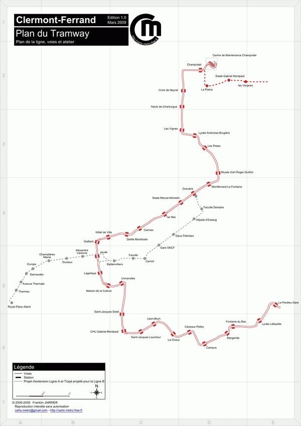 Схема метро Клермон-Ферран