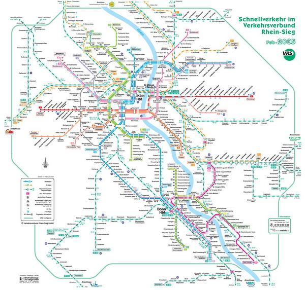 Схема метро и железных дорог Кёльна.