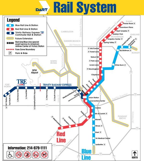 Схема метро Далласа