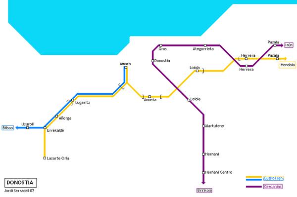 Схема метро Сан-Себастьяна