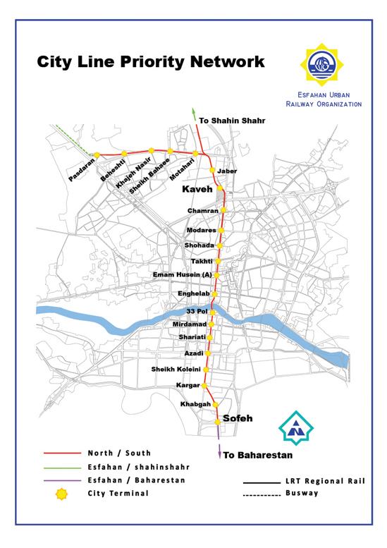 Схема метро Исфахана