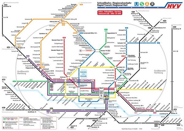 Подробная схема метро Гамбурга.  Европа.