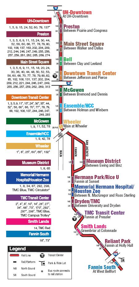 Схема метро Хьюстона