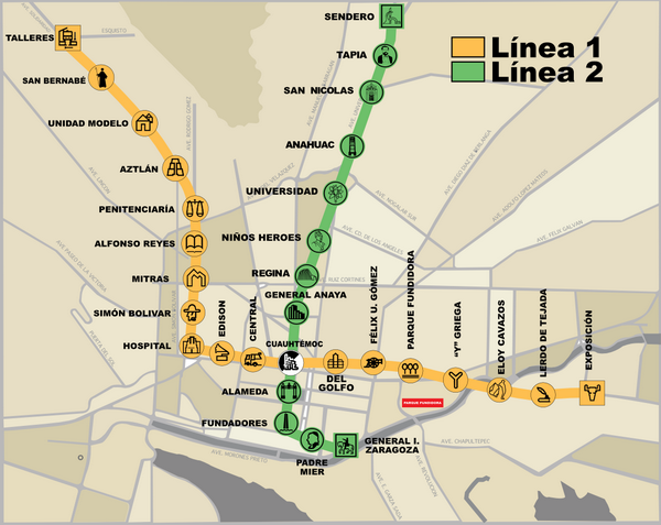 Схема метро Монтеррея