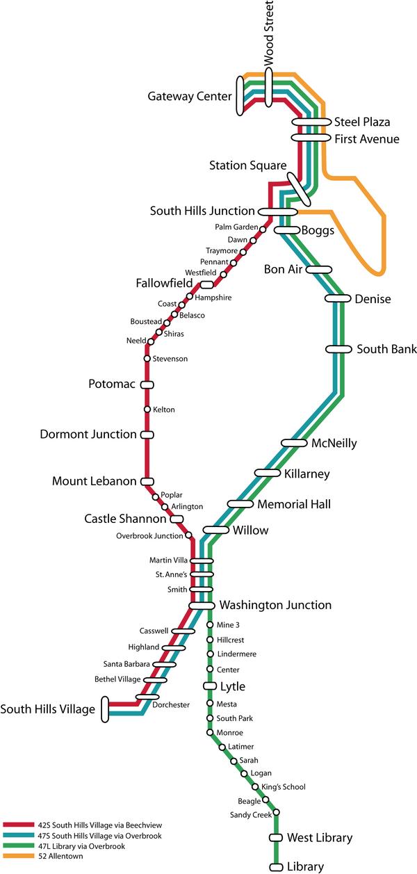 Схема метро Питтсбурга
