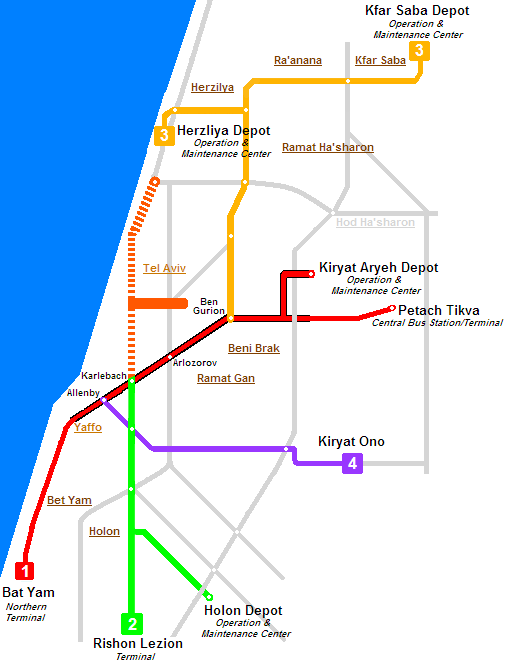 Схема метро Тель-Авива