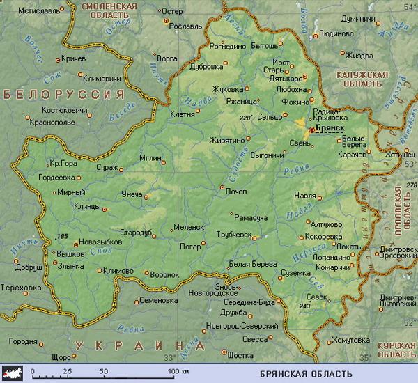 По карте где находится брянск