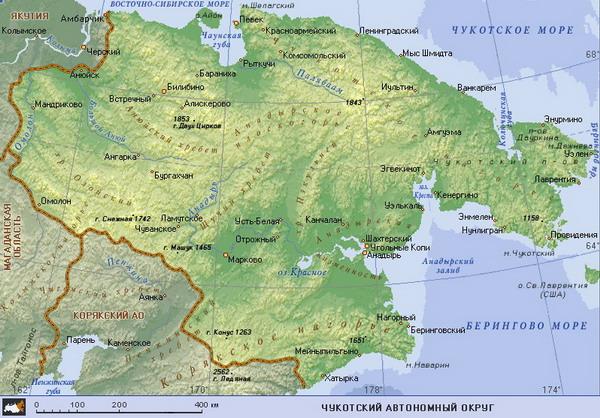 Карта чукотского ао