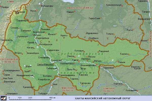 Карта Ханты-Мансийского АО