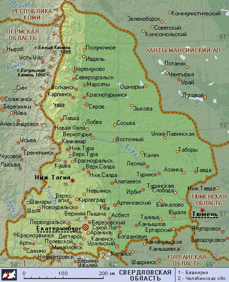 Карта городов свердловской области