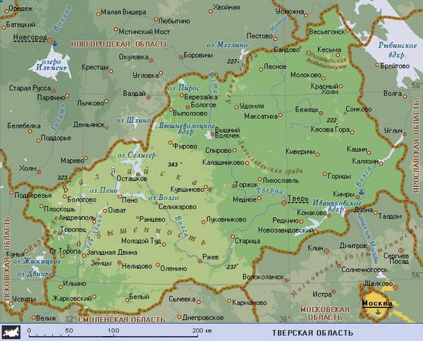 Подробная карта Тверской области.