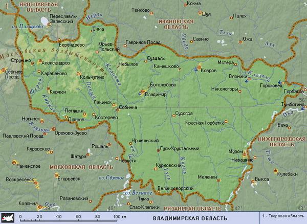 Карта Владимирской области содержит информацию о населенных пунктах, политических границах и многом другом.