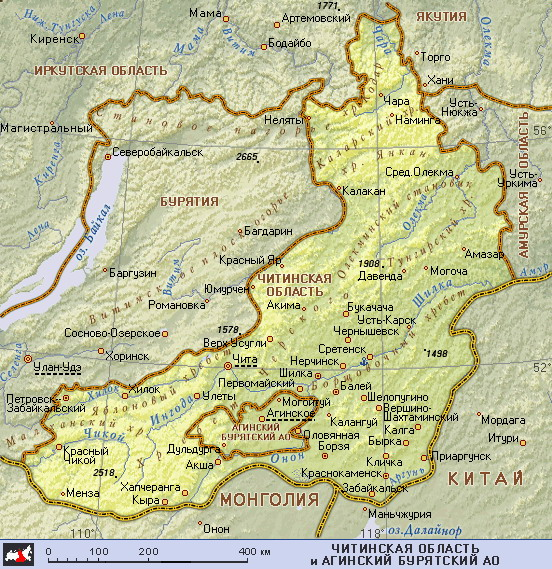 Подробная карта читинской области