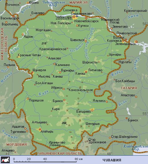 Подробная карта Чувашии
