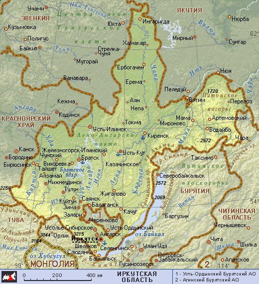 Подробная карта иркутской области