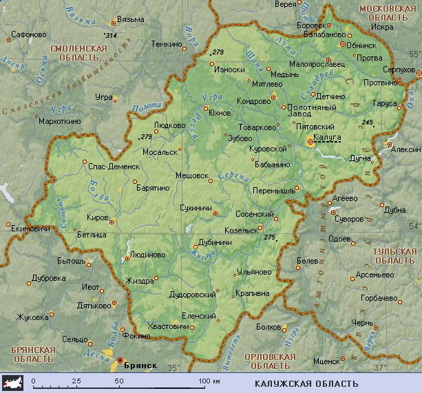 Подробная карта калужской области